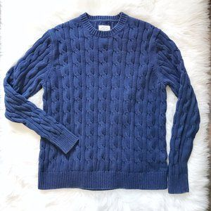 Men's St Johns Bay Navy Cable Knit Sweater